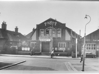 St. Albans Road. Odfellows Hall. Large building. Couple of pedestrians. | Bob Nunn Collection