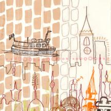 Detail of 'Across Seven Seas' by Merete Krohn, part of the Dream Landings exhibition