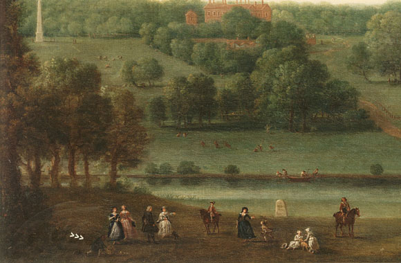 In this detail of the paintings, the black servant can just be seen at the bottom right.