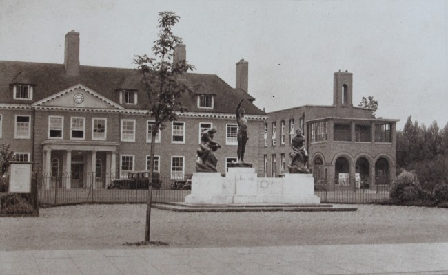 Front view of the peace memorial hospital. | Watford Museum